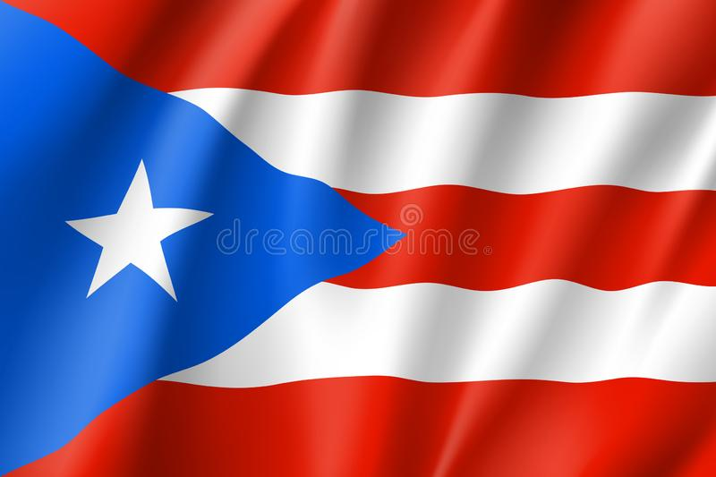 Waving flag of Puerto Rico in Caribbean sea. Patriotic symbol in official country colors. Illustration of Caribbean state flag. Vector icon royalty free illustration