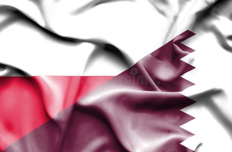 Waving flag of Qatar and Poland royalty free illustration