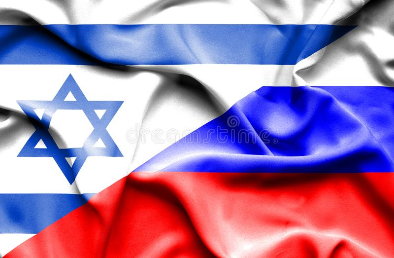 Waving flag of Russia and Israel royalty free illustration