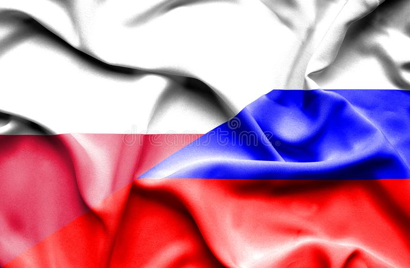 Waving flag of Russia and Poland royalty free illustration