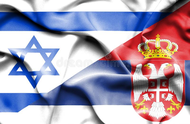Waving flag of Serbia and Israel royalty free illustration