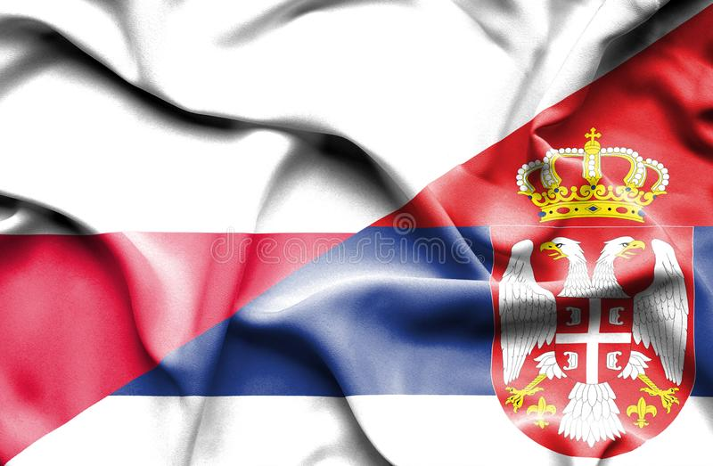 Waving flag of Serbia and Poland vector illustration