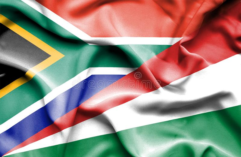 Waving flag of Seychelles and South Africa royalty free illustration