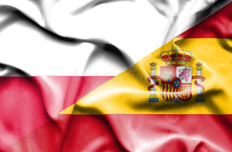 Waving flag of Spain and Poland stock illustration