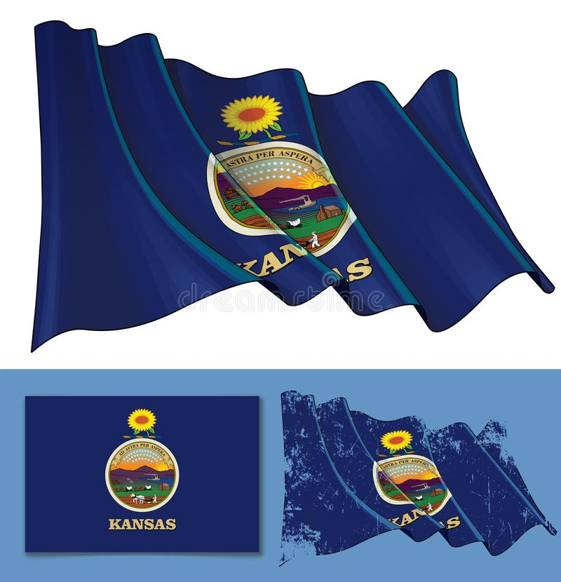 Waving Flag of the State of Kansas royalty free illustration