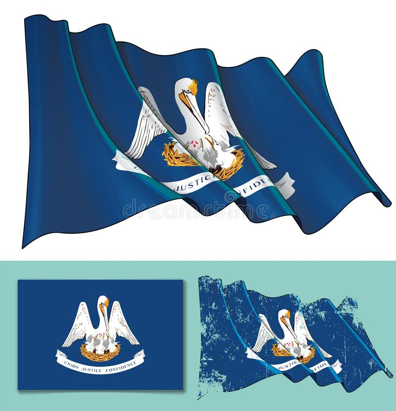 Waving Flag of the State of Louisiana vector illustration