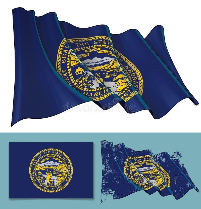 Waving Flag of the State of Nebraska stock illustration