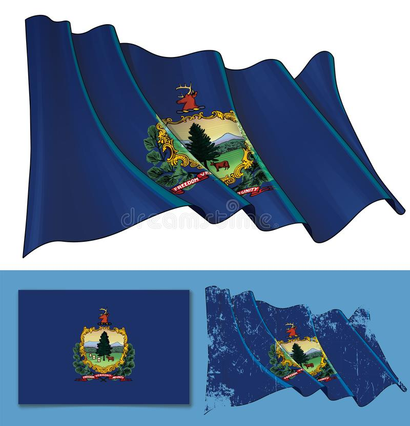 Waving Flag of the State of Vermont stock illustration