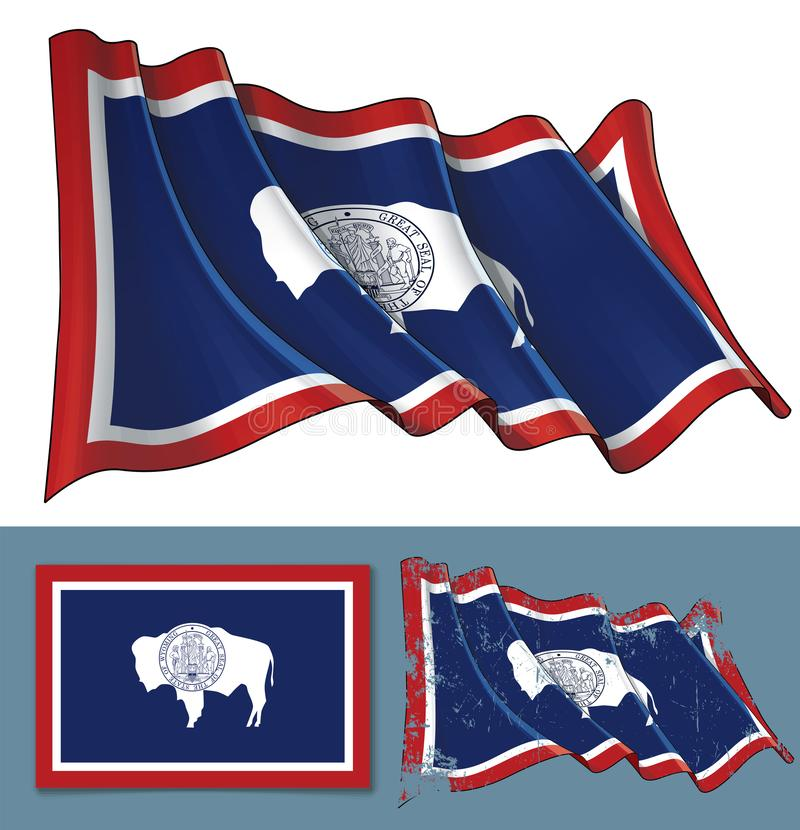 Waving Flag of the State of Wyoming stock illustration