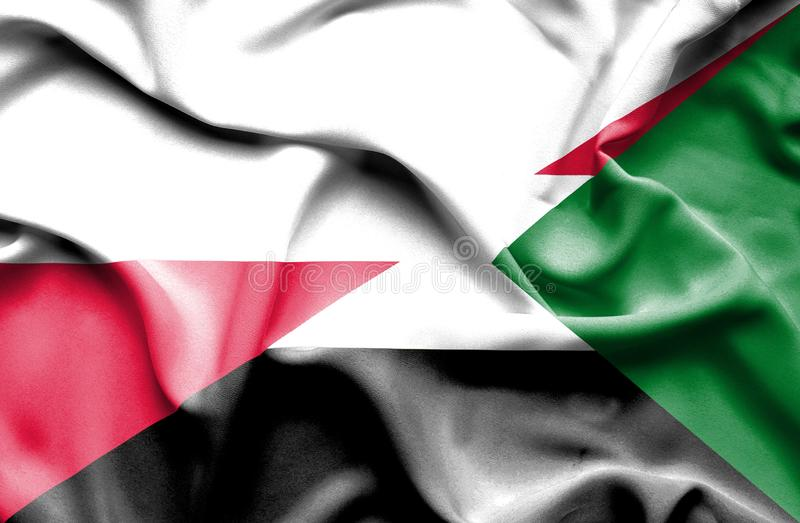 Waving flag of Sudan and Poland royalty free illustration