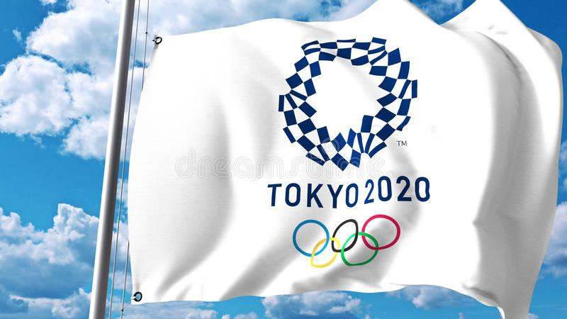 Waving flag with 2020 Summer Olympics logo against clouds and sky. Editorial 3D rendering royalty free illustration