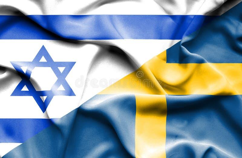 Waving flag of Sweden and Israel royalty free illustration