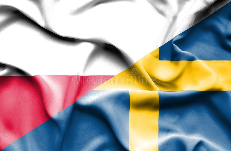 Waving flag of Sweden and Poland vector illustration