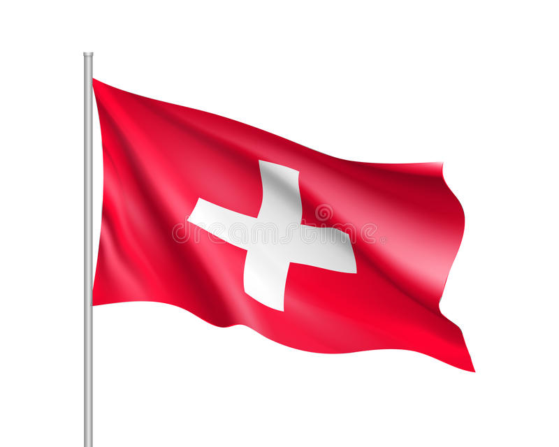 Waving Flag Of Switzerland State Stock Vector Illustration Of