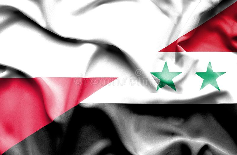Waving flag of Syria and Poland royalty free illustration