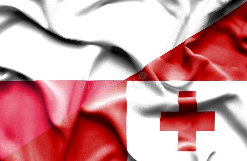 Waving flag of Tonga and Poland royalty free illustration