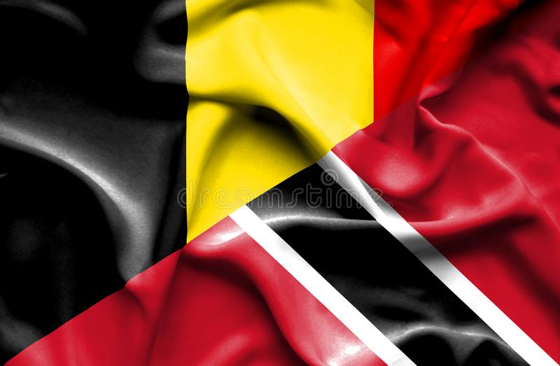 Waving flag of Trinidad and Tobago and Belgium stock illustration
