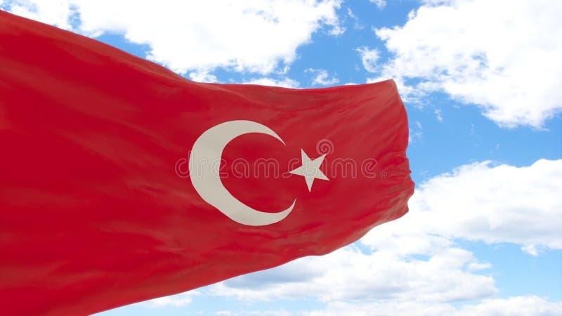 Waving flag of Turkey on blue cloudy sky. stock image