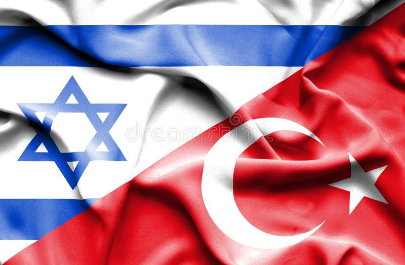 Waving flag of Turkey and Israel stock illustration