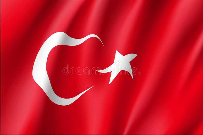 Waving flag of Turkey. Turkey national flag. Patriotic symbol in official country colors. Illustration of Asian state flag. Vector icon vector illustration