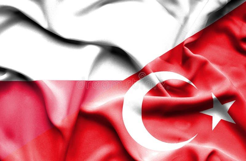 Waving flag of Turkey and Poland vector illustration