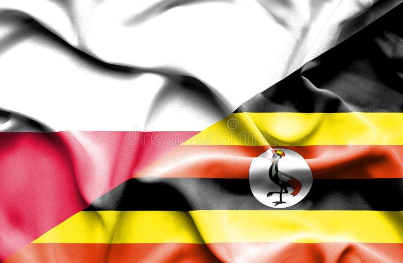 Waving flag of Uganda and Poland stock illustration