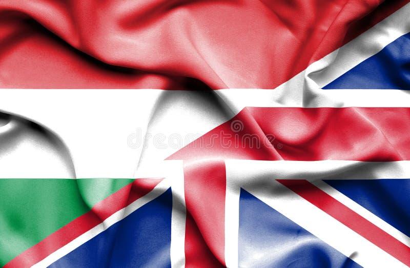 Waving flag of United Kingdom and Hungary vector illustration