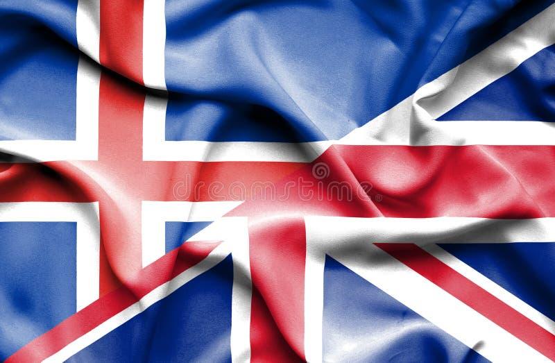 Waving flag of United Kingdom and Iceland royalty free illustration