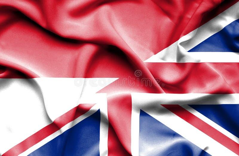 Waving flag of United Kingdom and Indonesia stock illustration
