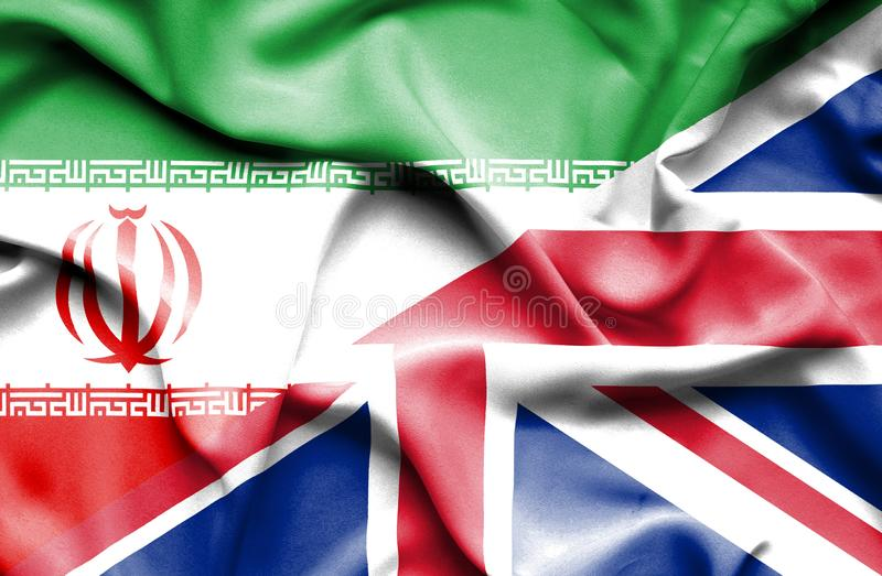 Waving flag of United Kingdom and Iran royalty free illustration