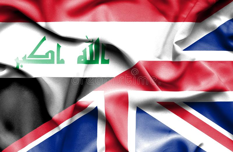 Waving flag of United Kingdom and Iraq royalty free illustration