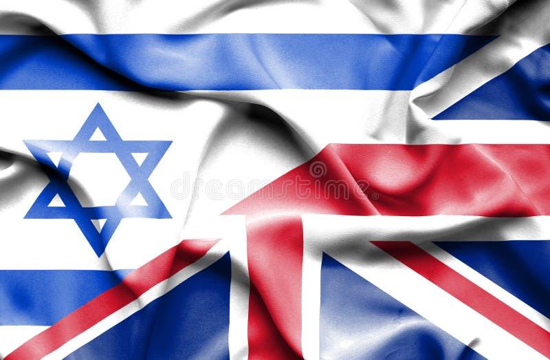 Waving flag of United Kingdom and Israel stock illustration