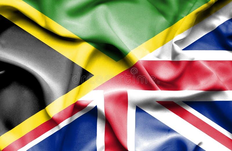 Waving flag of United Kingdom and Jamaica vector illustration