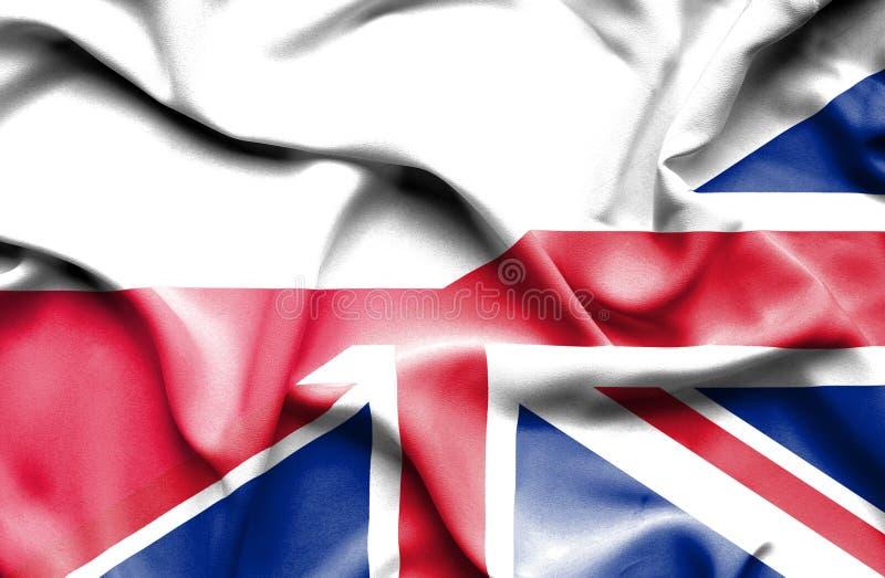Waving flag of United Kingdom and Poland vector illustration