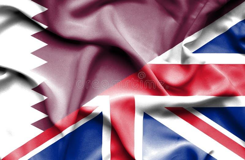 Waving flag of United Kingdom and Qatar royalty free illustration