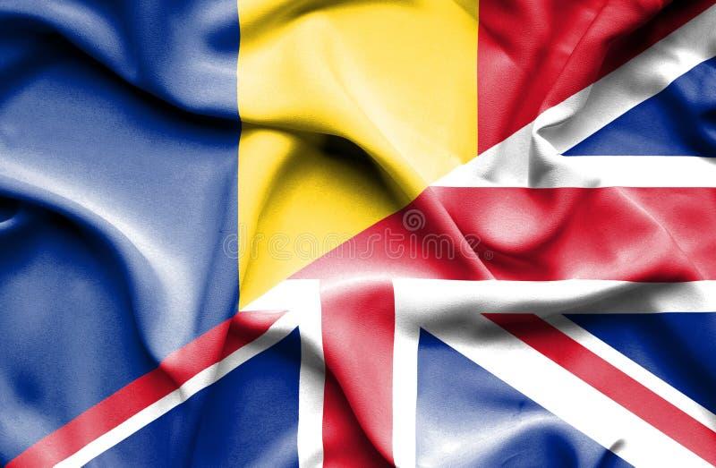 Waving flag of United Kingdom and Romania vector illustration