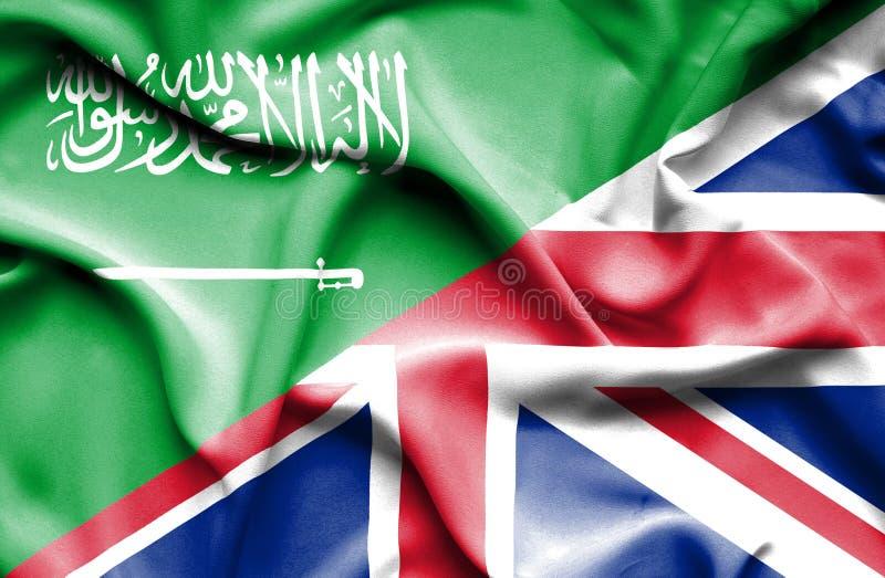 Waving flag of United Kingdom and Saudi Arabia royalty free illustration