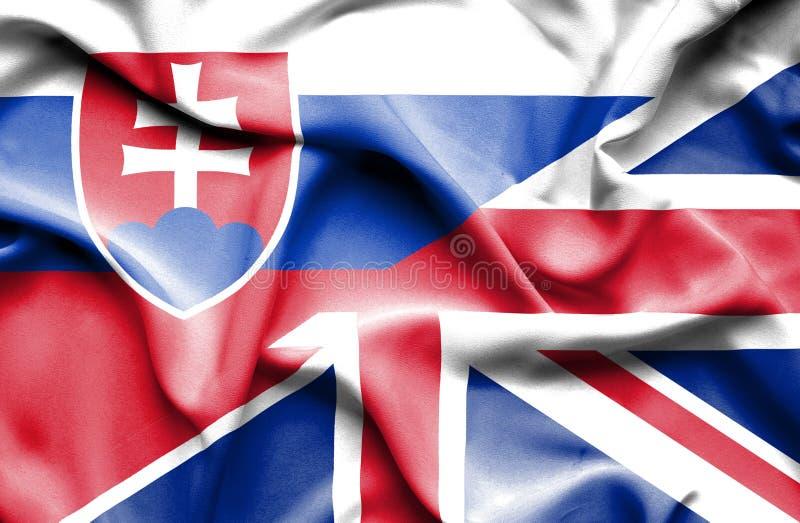 Waving flag of United Kingdom and Slovak royalty free illustration