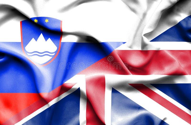 Waving flag of United Kingdom and Slovenia royalty free illustration