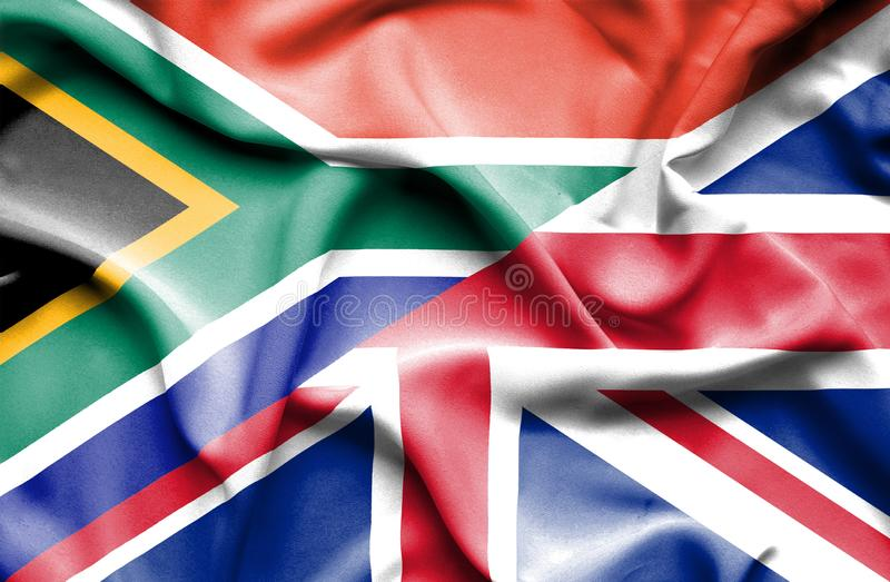 Waving flag of United Kingdom and  South Africa. Waving flag of United Kingdom and South Africa vector illustration