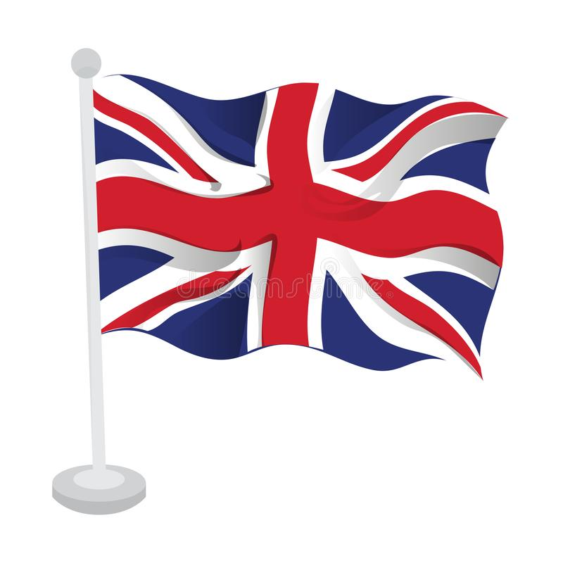 Waving flag of the United Kingdom. On a flagpole. Vector illustration design stock illustration