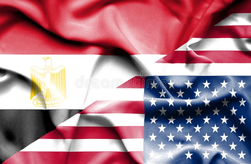 Waving flag of United States of America and Egypt royalty free stock image