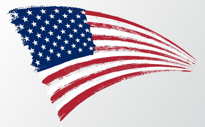 Waving flag United States of America. illustration wavy American Flag for Independence Day brush stroke background stock illustration