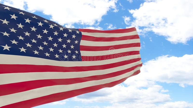 Waving flag of United States on blue cloudy sky. stock photos