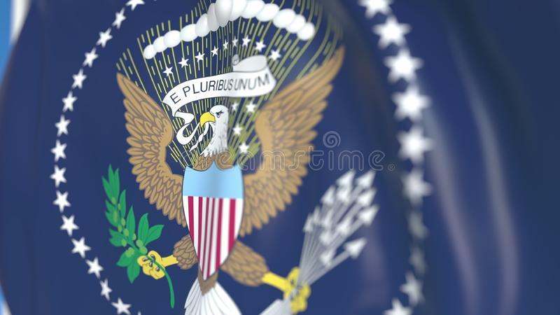 Waving flag of the USA President. Editorial 3D rendering stock illustration