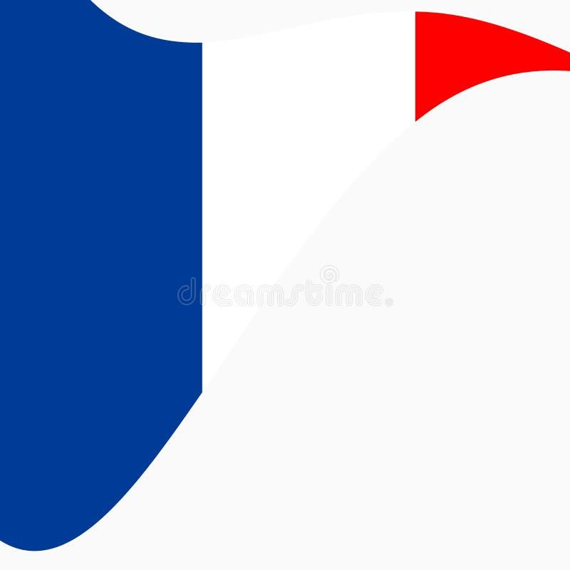 Waving Flag of France on a white background. stock illustration