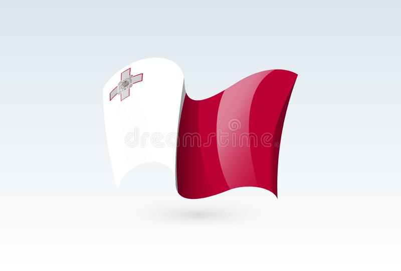 Waving flag vector icon, national symbol, fluttered in the wind - vector illustration isolated on white background stock illustration