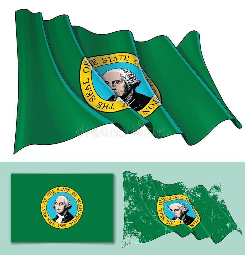 Waving Flag of Washington State royalty free illustration