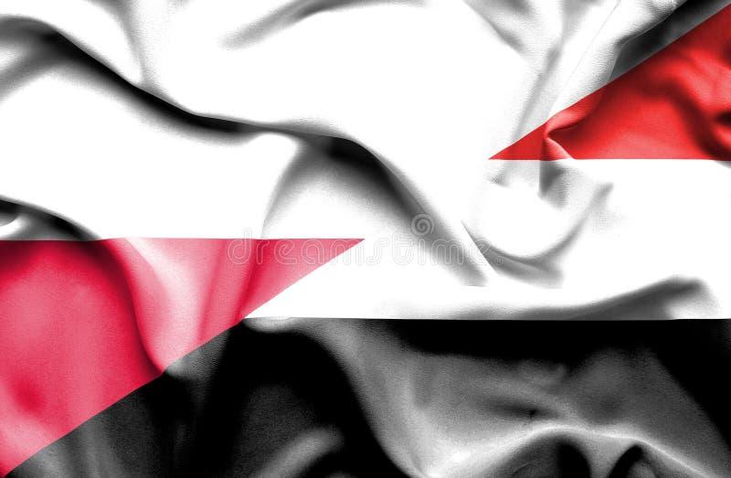 Waving flag of Yemen and Poland stock illustration