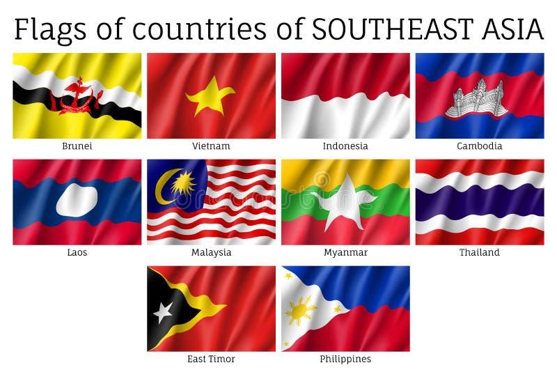 Waving flags of AEC members vector illustration